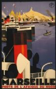 French shipping poster - Marseille , gateway to North Africa 1930